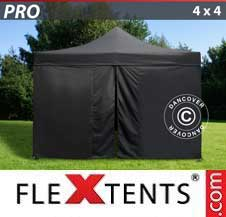 Carpa plegable FleXtents Pro 4x4m Negro, incl. 4 lados
