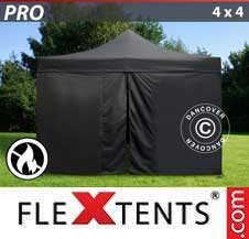 Carpa plegable FleXtents Pro 4x4m Negro, Ignífuga incl. 4 lados