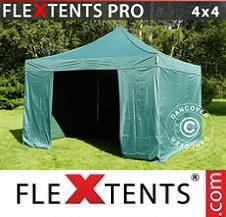 Carpa plegable FleXtents Pro 4x4m Verde, Incl. 4 lados
