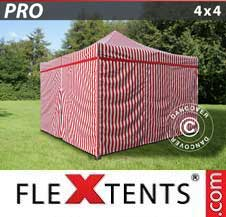 Carpa plegable FleXtents Pro 4x4m rayado, incl. 4 lados
