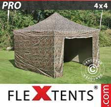Carpa plegable FleXtents Pro 4x4m Camuflaje, Incl. 4 lados