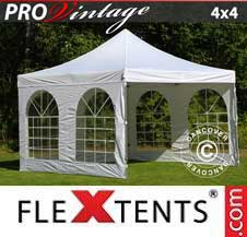 Carpa plegable FleXtents Pro 4x4m Blanco, Incl. 4 lados