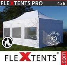 Carpa plegable FleXtents Pro 4x6m Blanco, Ignífuga, Incl. 4 lados